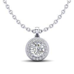 1 CTW VS/SI Diamond Solitaire Art Deco Stud Necklace 18K White Gold - REF-180W2F - 36965