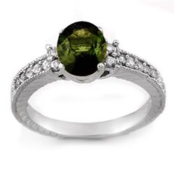 2.17 CTW Green Tourmaline & Diamond Ring 14K White Gold - REF-58K5W - 11442