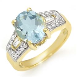 3.55 CTW Aquamarine & Diamond Ring 10K Yellow Gold - REF-70M8H - 11699