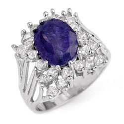 4.44 CTW Tanzanite & Diamond Ring 14K White Gold - REF-183F8N - 14093