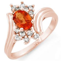 1.0 CTW Orange Sapphire & Diamond Ring 14K Rose Gold - REF-35H3A - 10367