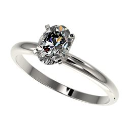 1 CTW Certified VS/SI Quality Oval Diamond Solitaire Ring 10K White Gold - REF-297X2T - 32894