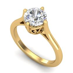 1.25 CTW VS/SI Diamond Solitaire Art Deco Ring 18K Yellow Gold - REF-490K9W - 37228