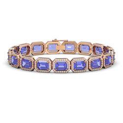 25.36 CTW Tanzanite & Diamond Halo Bracelet 10K Rose Gold - REF-606Y8K - 41388