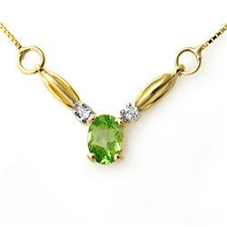 1.30 CTW Peridot & Diamond Necklace 10K Yellow Gold - REF-18K5W - 12631