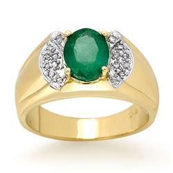 2.15 CTW Emerald & Diamond Men's Ring 10K Yellow Gold - REF-61A8X - 13476
