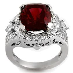 6.15 CTW Pink Tourmaline & Diamond Ring 14K White Gold - REF-157X8T - 11080