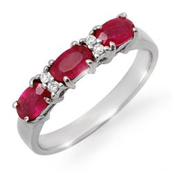 1.09 CTW Ruby & Diamond Ring 18K White Gold - REF-38H2A - 12367