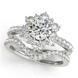 2.22 CTW Certified VS/SI Diamond 2Pc Wedding Set Solitaire Halo 14K White Gold - REF-425Y3K - 30942