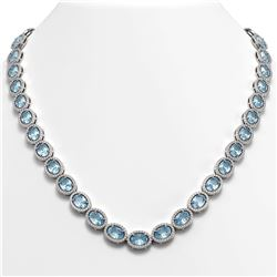 41.88 CTW Aquamarine & Diamond Halo Necklace 10K White Gold - REF-722T4M - 40577