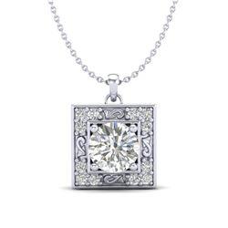 1.02 CTW VS/SI Diamond Solitaire Art Deco Necklace 18K White Gold - REF-200F2N - 37271