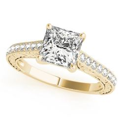 1.3 CTW Certified VS/SI Princess Diamond Solitaire Ring 18K Yellow Gold - REF-359T5M - 27644
