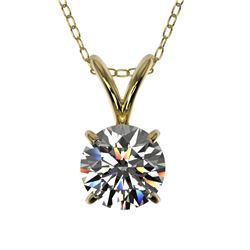 0.75 CTW Certified H-SI/I Quality Diamond Solitaire Necklace 10K Yellow Gold - REF-97X5T - 33174