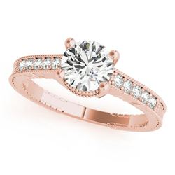 0.45 CTW Certified VS/SI Diamond Solitaire Antique Ring 18K Rose Gold - REF-69H6A - 27382