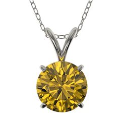 1.27 CTW Certified Intense Yellow SI Diamond Solitaire Necklace 10K White Gold - REF-240A2X - 36794