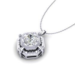 0.75 CTW VS/SI Diamond Solitaire Art Deco Stud Necklace 18K White Gold - REF-202H5A - 36878