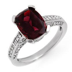 3.50 CTW Pink Tourmaline & Diamond Ring 10K White Gold - REF-74H8A - 11332