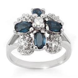 1.33 CTW Blue Sapphire & Diamond Ring 14K White Gold - REF-44F5N - 10817