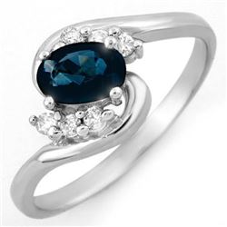 0.70 CTW Blue Sapphire & Diamond Ring 14K White Gold - REF-23N3Y - 10594