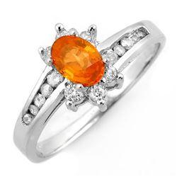 1.08 CTW Orange Sapphire & Diamond Ring 10K White Gold - REF-30K5W - 10999