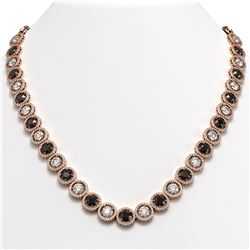 35.55 CTW Black & White Diamond Designer Necklace 18K Rose Gold - REF-3583N3Y - 42696