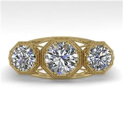 2 CTW Past Present Future VS/SI Diamond Ring 18K Yellow Gold - REF-421A6X - 36064