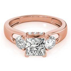 1.35 CTW Certified VS/SI Princess Cut Diamond 3 Stone Ring 18K Rose Gold - REF-238W2F - 28033