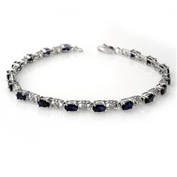 6.10 CTW Blue Sapphire & Diamond Bracelet 14K White Gold - REF-56W4F - 14031