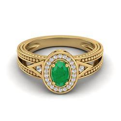 0.83 CTW Emerald & VS/SI Diamond Solitaire Halo Fashion Ring 10K Yellow Gold - REF-25Y8K - 20837