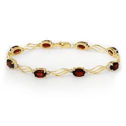 8.02 CTW Garnet & Diamond Bracelet Solid 10K Yellow Gold - REF-36K4W - 10818