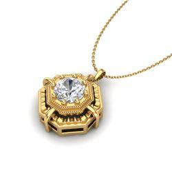 0.75 CTW VS/SI Diamond Art Deco Stud Necklace 18K Yellow Gold - REF-202W5F - 36880