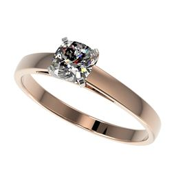 0.50 CTW Certified VS/SI Quality Cushion Cut Diamond Solitaire Ring 10K Rose Gold - REF-64Y3K - 3296