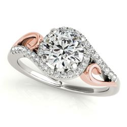 1.25 CTW Certified VS/SI Diamond Solitaire Halo Ring 18K White & Rose Gold - REF-304T9M - 26860
