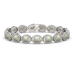14.24 CTW Opal & Diamond Halo Bracelet 10K White Gold - REF-298M2H - 40616