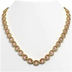 45.98 CTW Morganite & Diamond Halo Necklace 10K Yellow Gold - REF-850H9A - 40567