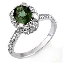 2.10 CTW Green Tourmaline & Diamond Ring 14K White Gold - REF-62T4M - 11178