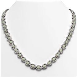 21.21 CTW Opal & Diamond Halo Necklace 10K White Gold - REF-555A3X - 40415
