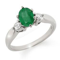1.20 CTW Emerald & Diamond Ring 14K White Gold - REF-43H6A - 11775