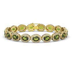 21.71 CTW Tourmaline & Diamond Halo Bracelet 10K Yellow Gold - REF-338T9M - 40624