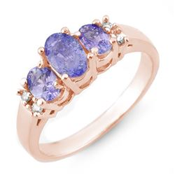 0.99 CTW Tanzanite & Diamond Ring 14K Rose Gold - REF-38T2M - 10425