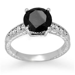 3.0 CTW VS Certified Black & White Diamond Solitaire Ring 18K White Gold - REF-112Y8K - 11935