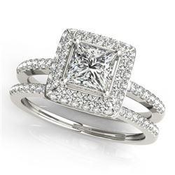 1.21 CTW Certified VS/SI Princess Diamond 2Pc Set Solitaire Halo 14K White Gold - REF-227F3N - 31352