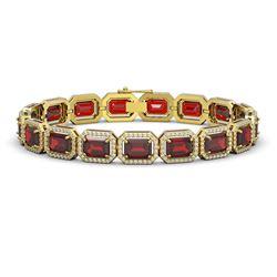 26.21 CTW Garnet & Diamond Halo Bracelet 10K Yellow Gold - REF-301A8X - 41425