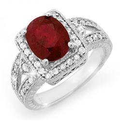 3.20 CTW Ruby & Diamond Ring 14K White Gold - REF-101K8W - 14257