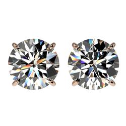 3.05 CTW Certified H-SI/I Quality Diamond Solitaire Stud Earrings 10K Rose Gold - REF-645H2A - 36692