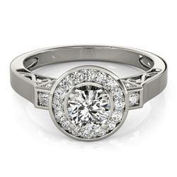 1.5 CTW Certified VS/SI Diamond Solitaire Halo Ring 18K White Gold - REF-394K5W - 27084