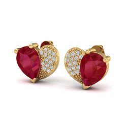 2.50 CTW Ruby & Micro Pave VS/SI Diamond Earrings 10K Yellow Gold - REF-33Y8K - 20078
