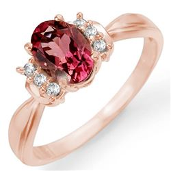 1.06 CTW Pink Tourmaline & Diamond Ring 14K Rose Gold - REF-36X4T - 11220