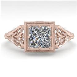 1.0 CTW VS/SI Princess Diamond Solitaire Engagement Ring Deco 18K Rose Gold - REF-344H4A - 36041