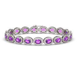 13.11 CTW Amethyst & Diamond Halo Bracelet 10K White Gold - REF-229W3F - 40490